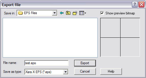 To export your objects to EPS, from the File menu, select Export
